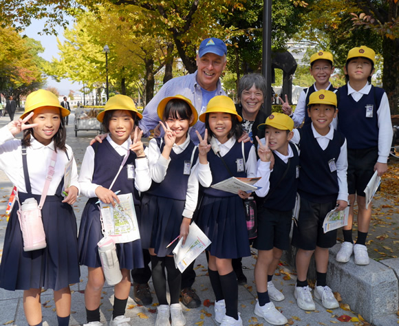 Bill and Debbie with students on a school trip to Hiroshima.