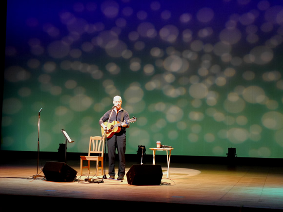 Bill Harley performs in Hiroshima.