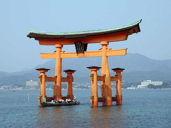 "Miyajima's famous ""floating"" shrine gate"