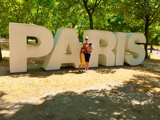 Two of my children and I at the Parc Floral, Paris