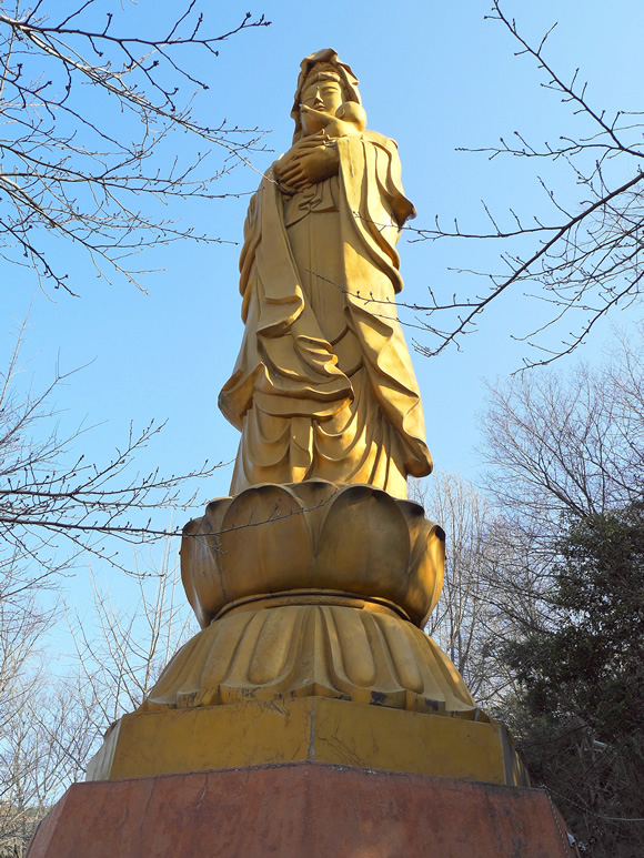 Kannon statue from below