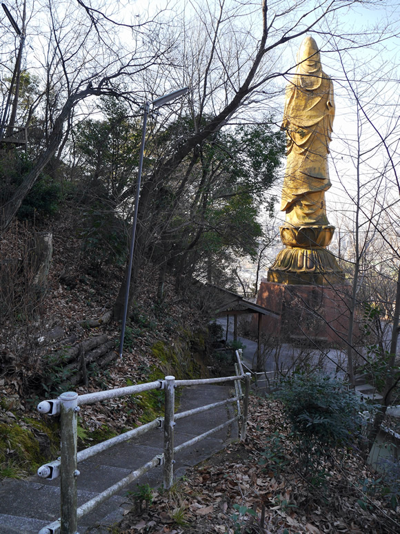Kannon statue from behind