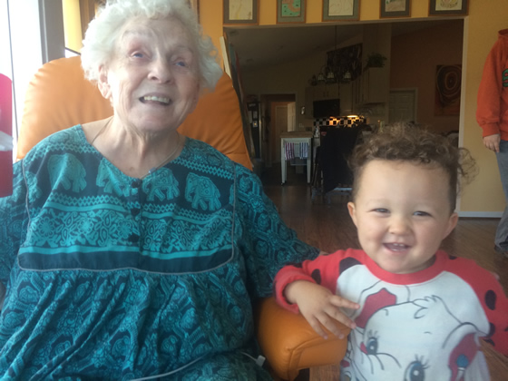 My son meets his great grandmother in North Carolina.