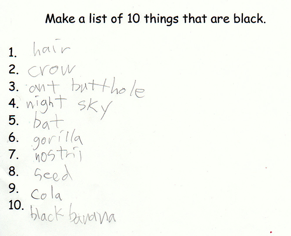 Make a list of 10 things that are black.