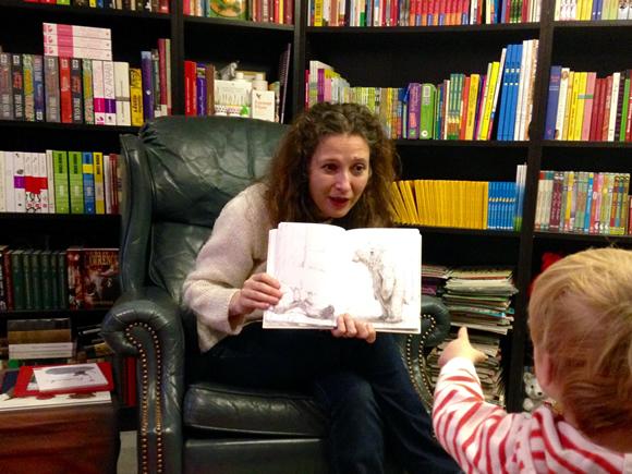 Beatrice reading aloud.