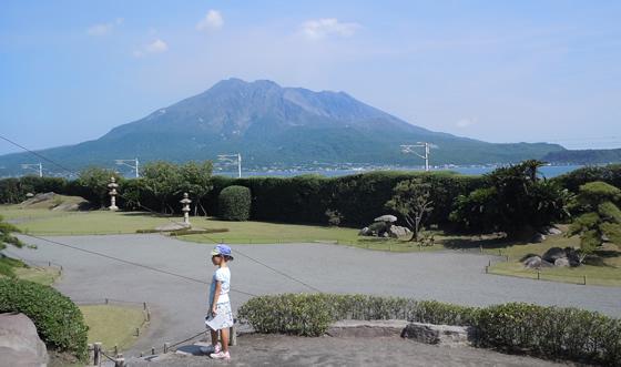 Sakurajima rises in Kagoshima Bay.