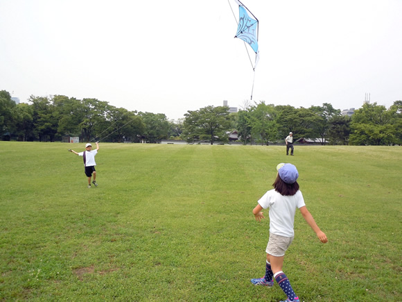 Roy and Lulu try to fly the kite.