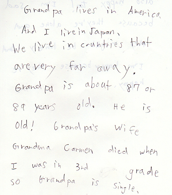 Lulu writes about her Grandpa.