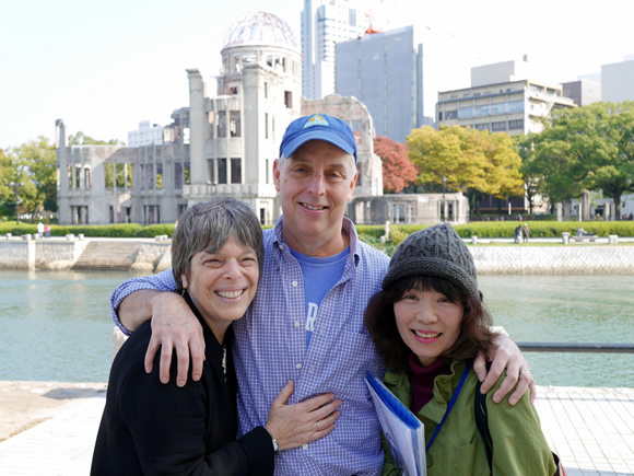 Debbie, Bill, and Michiko in front of the A-bomb Dome.