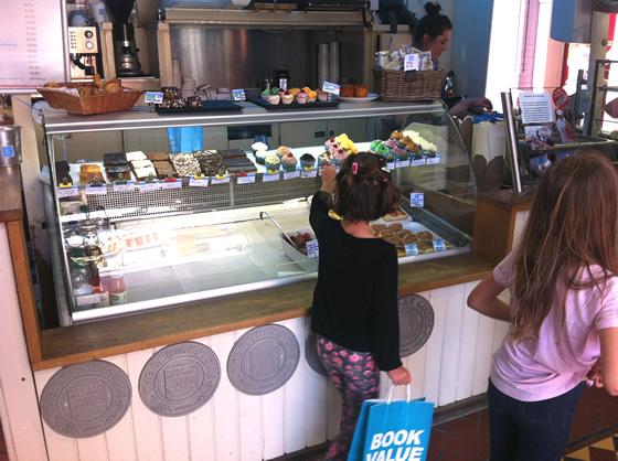 Choosing colorful cupcakes