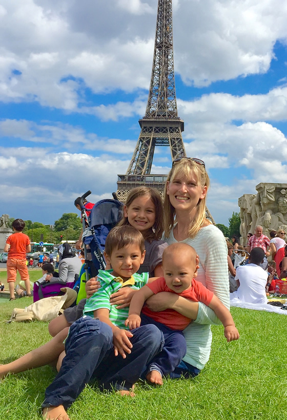 My three children and I at Trocadero in front of the Eiffel Tower