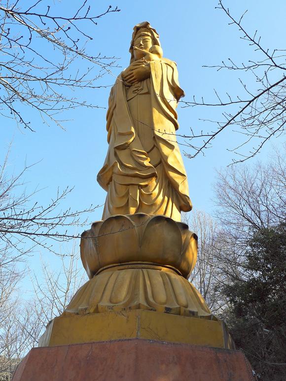 Kannon statue from below