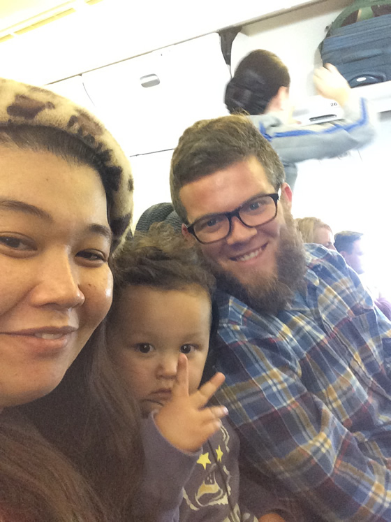 Yuco, Oliver, and I, ready for takeoff in Hiroshima.