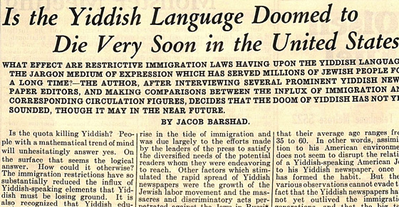 Is the Yiddish Language Doomed?
